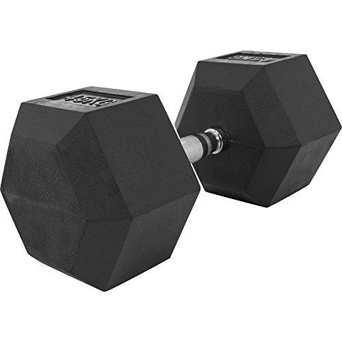 GORILLA SPORTS Hexagon Gummi Studio Hantel 2-50 KG | Gummi Beschichtung | Chrom Griff Farbe 45 KG