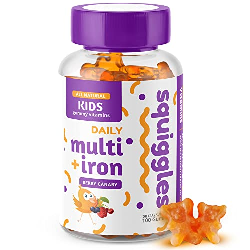 Kids Multivitamin + Iron Gummies by Squiggles 100ct.   All-Natural, Low Sugar, and Super Yummy   Broad Spectrum of Vitamins and Minerals with a Boost of Iron.
