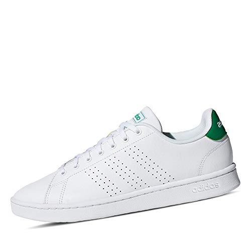 adidas Advantage, Scarpe da Ginnastica Uomo, Bianco (Ftwr White/Ftwr White/Green Ftwr White/Ftwr White/Green), 40 EU