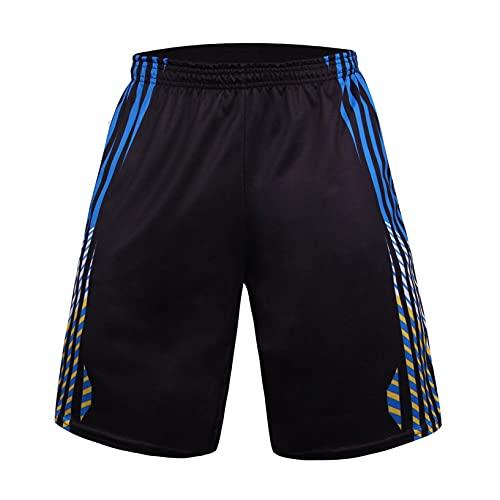 Verano de los Hombres Absorción de Humedad Pantalones de Secado Rápido Deportes de Ocio Fitness Pantalones Cortos a Juego Transpirables Pantalones con Cordón con Patrones (Negro, XXL)