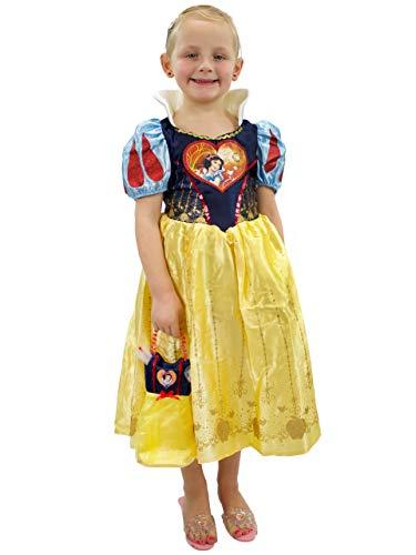 Disney Costumi Vestito e Borsetta per Ragazze Biancaneve Giallo 7-8 Anni