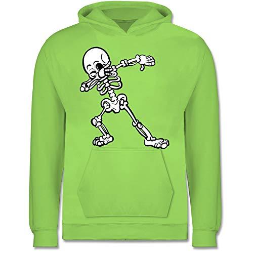 Shirtracer Halloween Kind - Dabbing Skelett - 140 (9/11 Jahre) - Limonengrün - Skelett 140 - JH001K - Kinder Hoodie