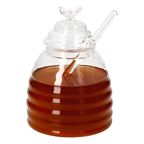 MamboCat 3-delige Set: Honingpot 500 ml + bijendeksel + honinglepel I glazen container + roerstaaf I opslagglas helder I gelei & suikersiroop I cadeau-idee