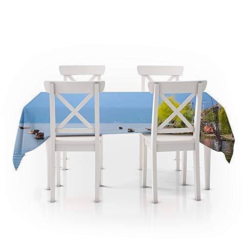 Tafelkleed rechthoekig blauw, 3D digitaal printen, zeilen aan zee, duurzaam waterdicht polyester tafelkleed, gebruikt in restaurants, groen en comfortabel huis 140X140Cm