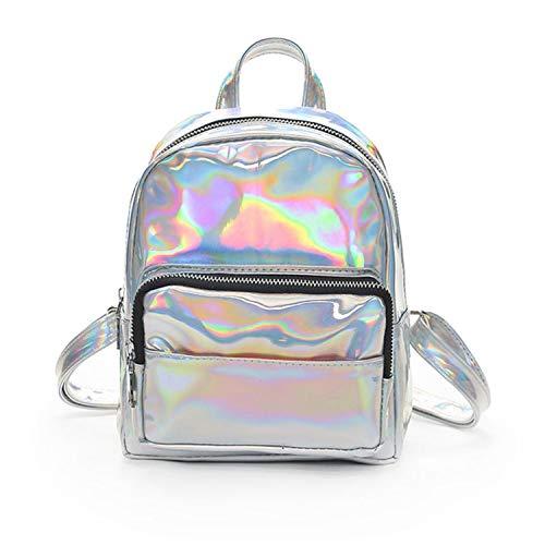Hot Girl Laser Leather Pure Color School Bag Backpack Satchel Women Trave Shoulder Bagmochilas escolares para adolescentes2,Silver