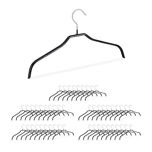 Relaxdays rutschfeste Kleiderbügel, 50er Set, Hemdenbügel, Blusenbügel mit Gummiummantelung, Metall, 42 cm, schwarz