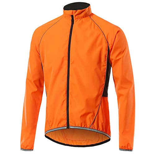Beylore Fahrradjacke Damen Sommer Wasserdicht Atmungsaktiv Reflektierend Winddicht Lang Sportjacke Laufjacke Fahrradbekleidung,Orange,XL