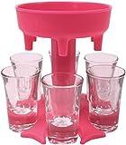 Glass Pourers and Holder, Plastic Multiple 6 Shot Dispenser Pourers for Liquor, Scotch, Bourbon, Vodka, Cocktail Shots Dispenser Bar Shot Dispenser(6 Cups are Included) Cups+Redshelf