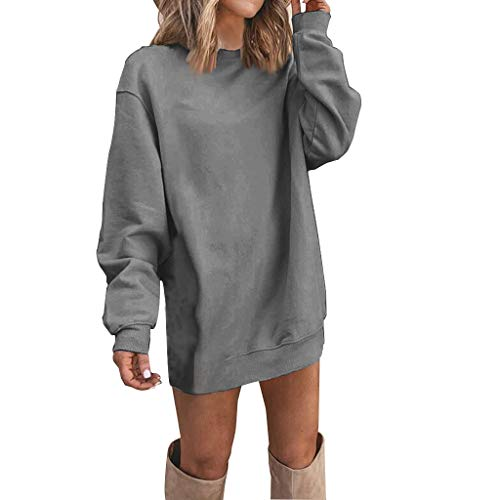Women Tops Long Sleeve Stylish Leisure Solid Color 2020 O-Neck Casual Dress(Grey,M)