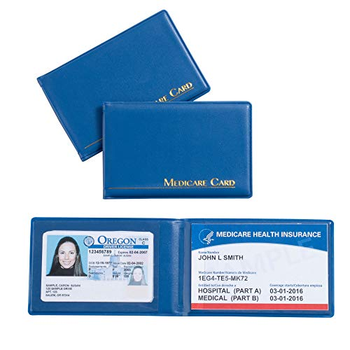 3-Pack Medicare Card ID Holder, Medicare Card Protector with 2 Clear Card Sleeves, Social Security Card, Driver License, Health Insurance, Bright Blue Card Sleeve, 3.8 x 2.5 Inches