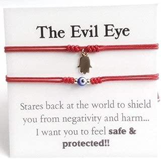 Couples Bracelets Set of 2 Red String Adjustable Evil Eye Hamsa Charm