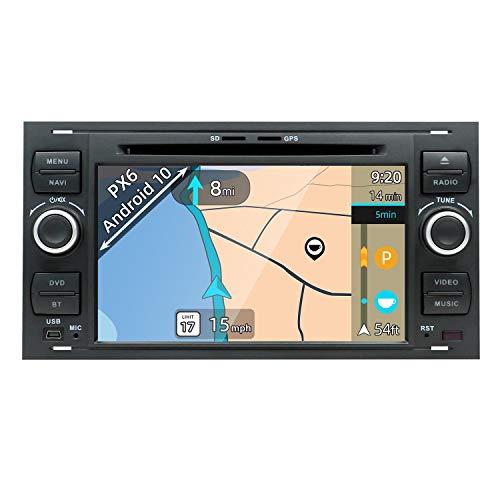 YUNTX PX6 Android 10 Autoradio Compatible con Ford Focus/Fusion/Fiesta/Fusion/Cmax - 4G+64G - GPS 2 DIN - Cámara Trasera Gratis - Soporte Dab+ / DVD/USB / 4G / WiFi/Bluetooth 5.0 / MirrorLink