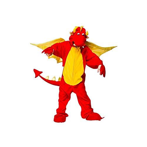 Enfant de dragon rouge de luxe costume. Tout en un avec des ailes métalliques. Grandes 7-8 ans.