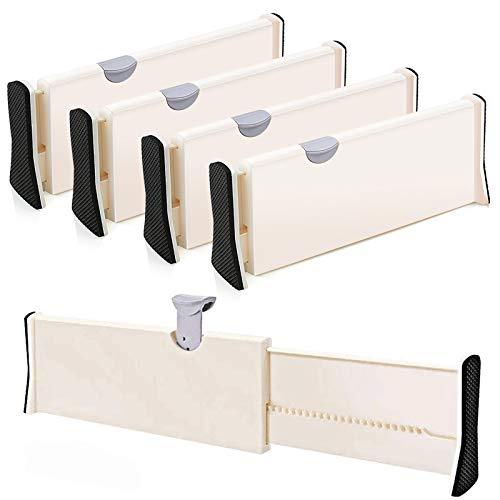 4-Pack Adjustable Drawer Dividers Organizer Separators - Good Grips Dresser Organizer - for Bedroom Bathroom Closet Baby Drawer Desk Kitchen Storage