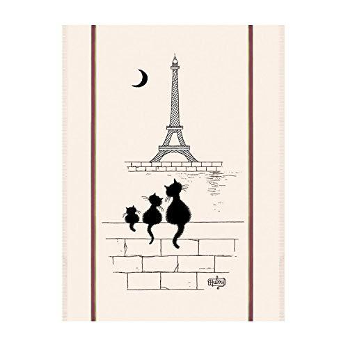 Winkler - Grand torchon Dubout Chats Tour Eiffel – 60x80cm - 100% coton absorbant – Fabriqué en France - Serviette à vaisselle, chiffon de nettoyage, lingette de séchage - Humour