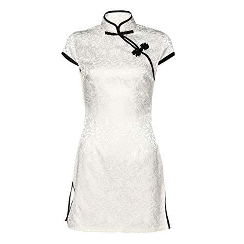 Sommerty Donna Sottile Vestito Moda Cinese Sexy Bianco Cheongsam Pulsante Stile Punk Vestito Sottile Vestito da Vestito Tubino Donna Cerimonia`