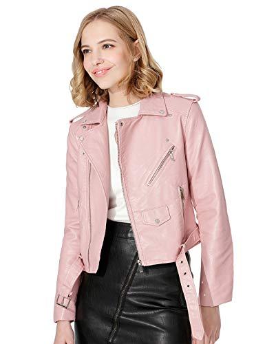 Jhichic Women's Faux Leather Textured Short Moto Jacket Zip-up Slim PU Biker Coat with Pockets (Pink, XXL)