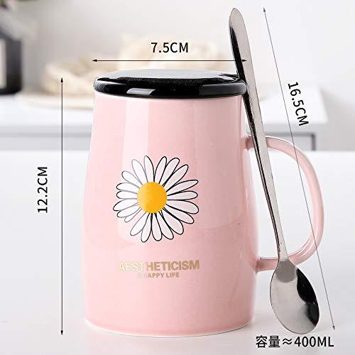 Heliansheng Pareja Creativa Taza de café para Oficina Taza de té Taza de Agua de cerámica con Marca de Regalo de Dibujos Animados Lindo -D183-401-500ml