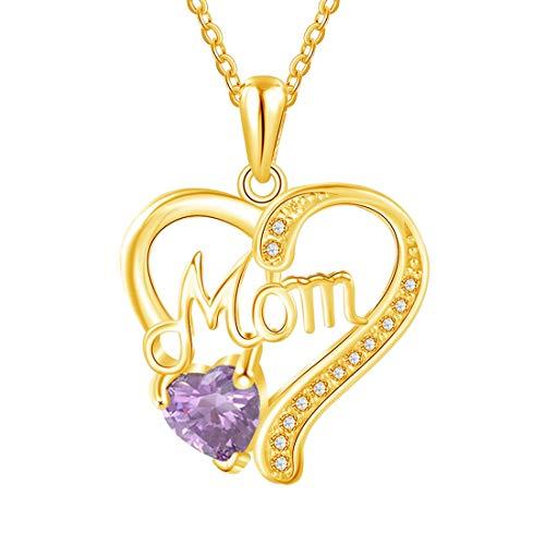 Joyas De Corazón De Madre - Collar De Plata De Ley 925 Personalizado Con Piedra Natal Para Mujer Collar De Aniversario De Cumpleaños Personalizado Para El Día De La Madre Pulsera(Oro-16')