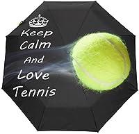 たっての熱テニス防風トラベル傘オートオープンクローズ3折りたたみ式丈夫で耐久性のあるコンパクトレイン傘UVプロテクションポータブル軽量簡単持ち運び