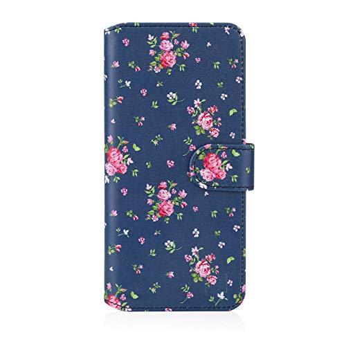 32nd Blumen Series 2.0 - PU Leder-Mappen-Hülle Hülle Cover für Samsung Galaxy A20e (2019), Blumendesign hüllen Entwurf gemacht Mit Kartensteckplatz & Magnetverschluss - Weinlese-Rosen-Indigo