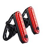 Marxways - Juego de 2 luces LED traseras para bicicleta, recargables por USB, 4 modos, resistentes al agua, para ciclismo nocturno, camping, carretera y montaña, aprobado por el StVZO