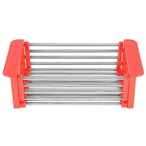 Rejilla para platos - Rejilla para fregadero de acero inoxidable retráctil Cesta para escurridor de platos Organizador de vajilla Herramienta de cocina(rojo)
