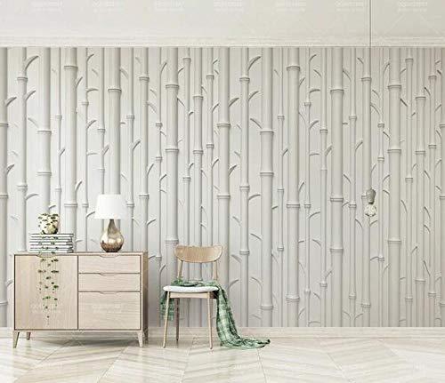 Color blanco relieve bambú moderno 3d tridimensional mural sala de estar sofá dormitorio TV fondo pared pintura papel pintado de pared 300cmx210cm