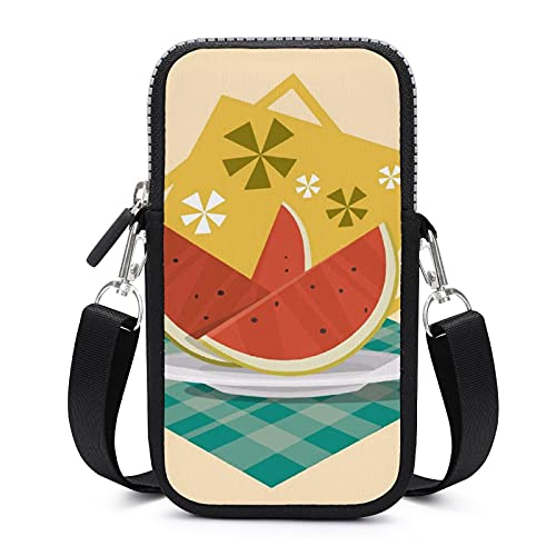 Bolso bandolera con correa de hombro extraíble sandía verano anticaída funda para dinero cintura cartera gimnasio fitness bolsos unisex