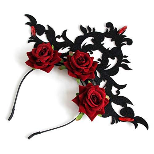 Shefii - Corona gótica para mujer, diseño de corona de rosas rojas,