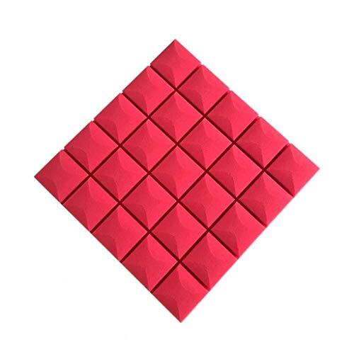 WXQIANG Los Paneles de Pared acústicos 10PCS Multifunction, Auto-Adhesivo de Piano Habitación Tambor Hotel acústicos absorbentes del algodón Adhesivo acústica (Color : Red)
