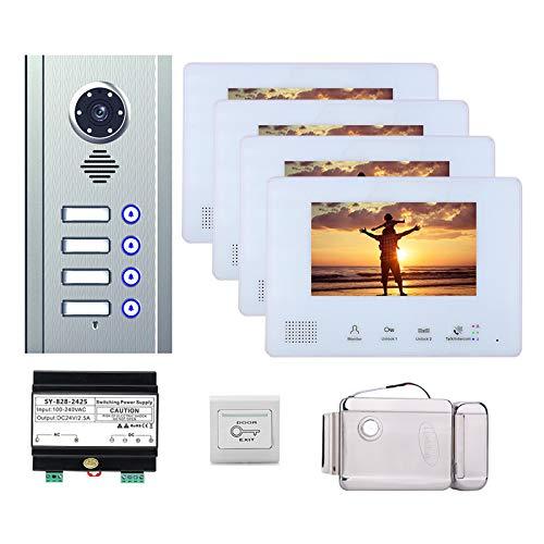 Timbre de video, kit de intercomunicador de videoportero para apartamento en casa, cámara de visión nocturna + monitor de 7 pulgadas + cerradura electrónica,4 units