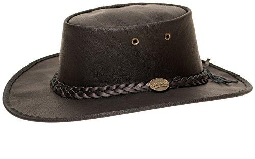 Barmah Hats Barmah 1019 Sundowner Lederhut aus Australien - Känguruleder + Kinnriemchen   Schwarz/Black   Size XL