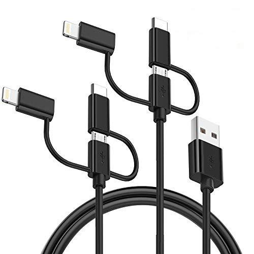GlobaLink Cavo 3-in-1 USB Micro Tipo C Phone Cable [2 Pack 1,5m] Multi USB Cavo Universale per Phone Pad Samsung Huawei HTC Lumia Nexus LG Sony Xperia Android Smartphone, ECC Nero