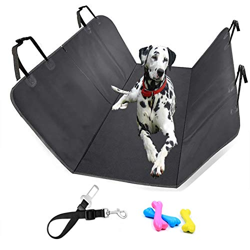 Sicifaly Coprisedile Auto Per Cani - Protezione Sedili Posteriore Impermeabile 150X135Centimeter - Set Telo Auto Per Cane E Cintura Di Sicurezza