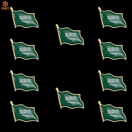 SFDGBTH 10 Piezas de Arabia Saudita Naturaleza gGreen Bandera Broche Chapado en Oro Recuerdo de Metal Insignia Bufanda Corbata Collar Pin colección de Joyas
