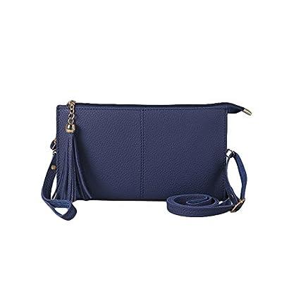 Ladies Classic Elegant Vegan Faux Leather Bag Purse with Adjustable strap Tassel Clutch