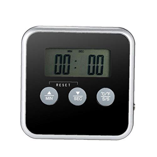 JRXyDfxn Fleisch-Thermometer-Digital-Grill Ofen Koch Thermometer Edelstahl Sonden für Grill Küche rösten Schwarz TS-BN56