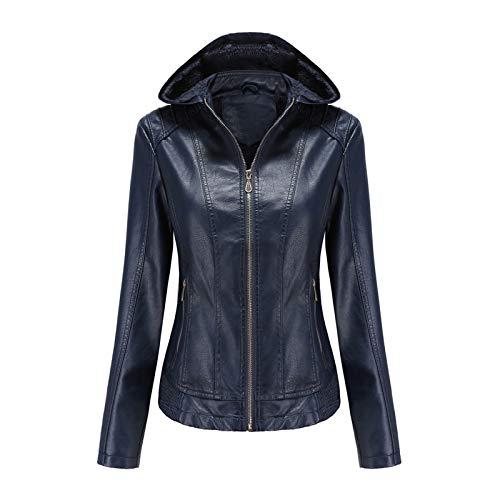 Women Hooded Plush Zipper Leather Jacket Warm Velvet Detachable Coats Tops URIBAKE