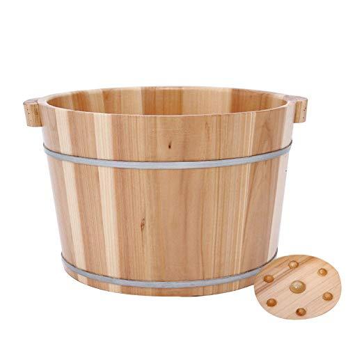 FAP Pedicure-zwembad, hoogte 25 cm, voet voor massage thuis, voetmassage, voor het verzenden van barils van hout, cadeau voor middelgrote en ouderlijke verzorging, D, hout, kleur 3, C