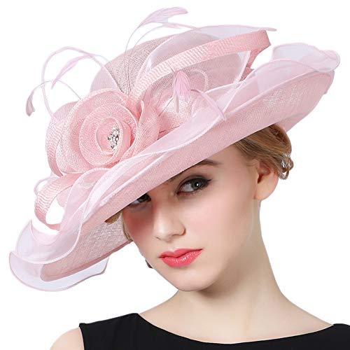 Koola's hats Damen 3 Schichten Sinamay Hochzeit Hüte Sonnenhut Ascot-Rennen Derby Hut Kirche-Hüte Partyhüte (Pink)