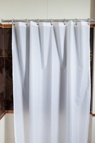 TEXTIL DUSCHVORHANG WEISS 180x180 cm - METALLÖSEN - SILBERNE RINGE 180 x 180 cm! SHOWER CURTAIN WHITE!