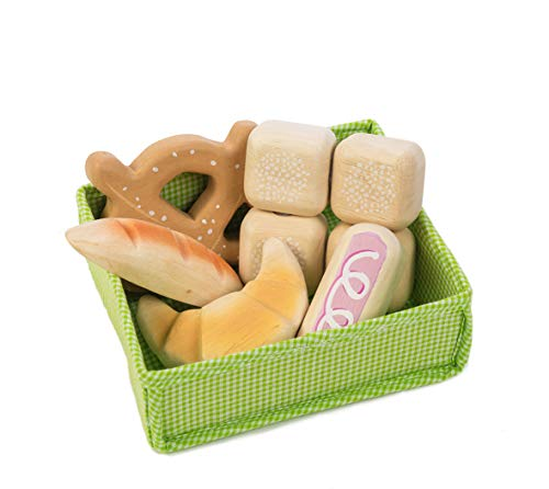 Tender Leaf Toys - Wooden Play Food Crate - Pretend Food Play Supermarket Shopping Game Accessories Educational Learning Toys for Children 3+ (Bread Crate)