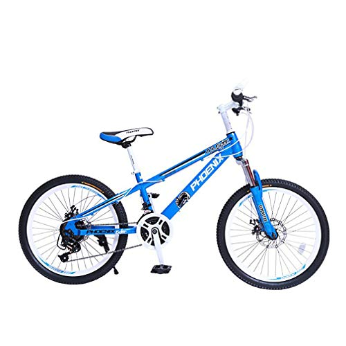 YAOXI Mountainbike Mit Stoßdämpfung Der Federgabel, Rahmen Aus Kohlenstoffstahl 21 Gang Rutschfester Griff Fahrrad Doppelscheibenbremse Kinderfahrrad,White/Blue,20Inch