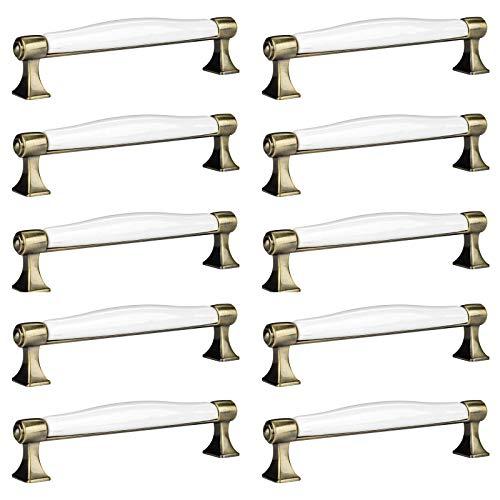 10 x SO-TECH® Tirador de Mueble Aspecto Antiguo MARIE Tirador de Cocina Tirador Porcelana Acabado Latón Antiguo Distancia Agujero 128 mm