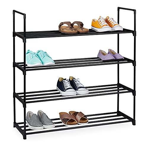 Relaxdays Zapatero (4 Niveles, para 16 Pares de Zapatos, 91,5 x 90,5 x 30,5 cm, Metal), Color Negro