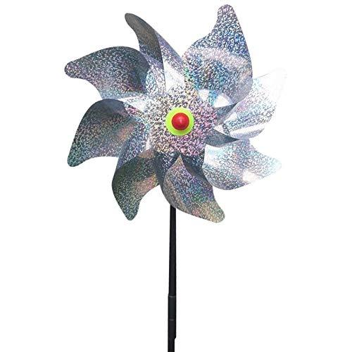 LiQinKeJi8 Lot de 3 moulins à vent laser durable - Répulsif à oiseaux à 8 feuilles - Argenté brillant - Dissuasif pour les fêtes de jardin, la pelouse - Pour contrôler les oiseaux - Couleur :