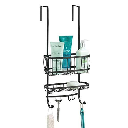 mDesign Estantería de ducha para colgar sobre la mampara – Práctico colgador para ducha sin taladro – Cestas metálicas con ventosas y 4 ganchos para champú, cuchillas, etc. – negro mate