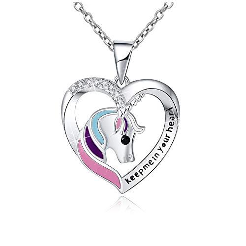 Collar de Unicornio Plata 925 forma de corazón Colgantes de Regalo para Mujeres Adolescente Chicas Niña ''Keep me in Your Heart'' regalo unicornio con caja de joyaNavidad Acción de Gracias Cumpleaños