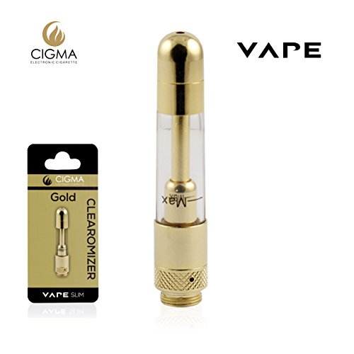 Cigma Vape Clearomizer für die Cigma Slim Battery E-Zigarette - Nachfüllbarer klarer Tank mit austauschbaren Spulen Nikotinfrei - Gold